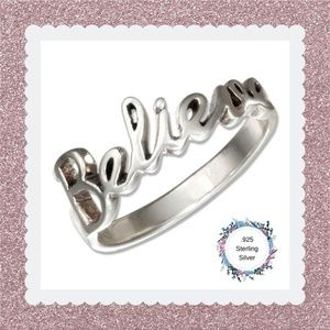 """Sterling Silver """"Believe"""" Message Ring"""